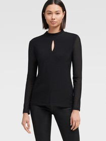 Donna Karan MOCK-NECK TOP WITH KEYHOLE DETAIL