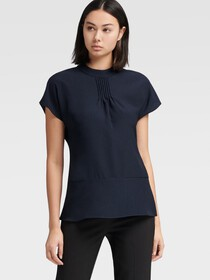 Donna Karan PEPLUM TOP WITH PINTUCK DETAIL