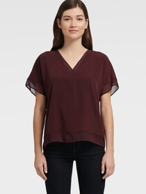 Donna Karan CREPE-DE-CHINE TWILL V-NECK TOP