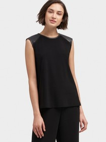 Donna Karan TANK TOP WITH FAUX-LEATHER ACCENT