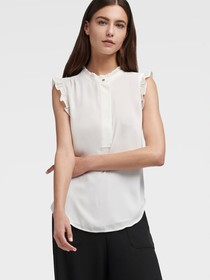Donna Karan Sleeveless Ruffle Blouse