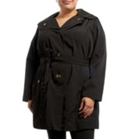 LONDON FOG Plus Size Double Collar Hooded Raincoat
