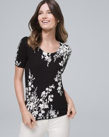 Floral Short-Sleeve Sweater