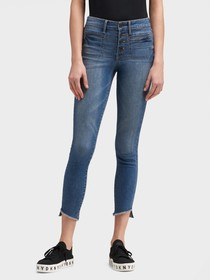 Donna Karan HIGH-RISE SKINNY ANKLE JEAN - BUTTON-F