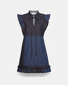 Coach denim patchwork dress with broderie anglaise