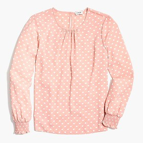 J. Crew Factory Long-sleeve dot top with smocked c