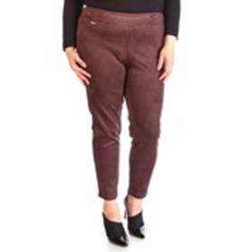 Plus Size Faux Suede Pull-on Pants