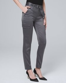 Satin Cargo Ankle Pants