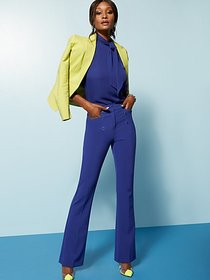 High-Waisted Bootcut Pant - Button Accent - Double