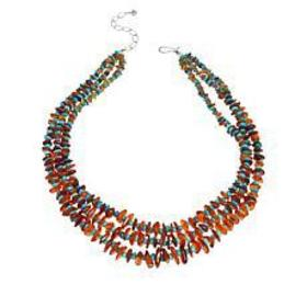 Jay King Sterling Silver Amber and Turquoise Chip