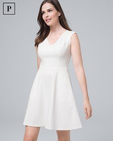 Petite White Ponte Knit Fit-and-Flare Dress