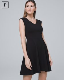 Petite Black Ponte Knit Fit-and-Flare Dress