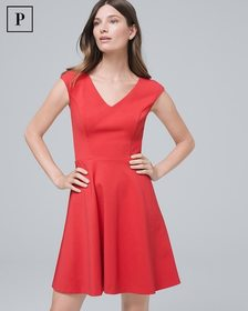 Petite Ponte Knit Fit-and-Flare Dress