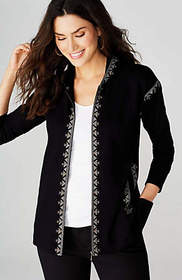 Embroidered Zip-Front Knit Hoodie