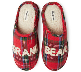 Dearfoams Unisex Grand Bear Plaid Clog Slippers -