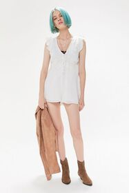 UO Anya Eyelet Button-Front Romper