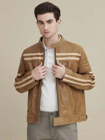 Wilsons Leather Carl Moto Jacket with Chest Stripe