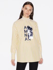 Armani STRIPED BLOUSE WITH PRINT