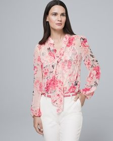 Floral Convertible Blouse with Tie-Neck