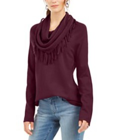 Style & Co Fringe-Trim Cowlneck Sweater, Created f
