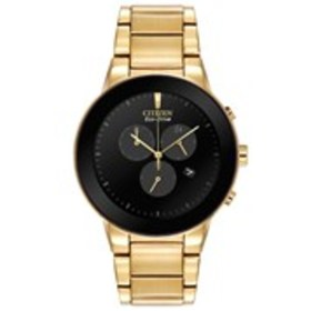 CITIZEN Citizen Eco-Drive Mens Black Dial Gold Sta