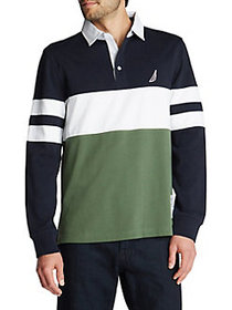 Nautica Long-Sleeve Rugby Stripe Jersey Polo NAVY