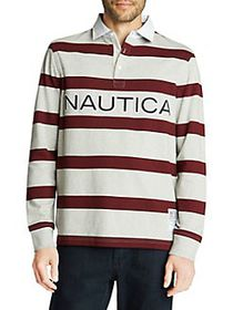 Nautica Classic-Fit Long-Sleeve Striped Jersey Pol