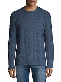 Black Brown 1826 Cable Wool Crewneck Sweater BLUE