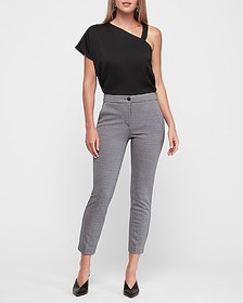 Express high waisted knit check print ankle pant