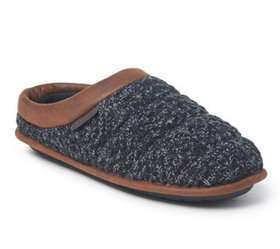 Dearfoams Men's Quilted Clog Slippers with FauxLea
