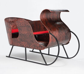 Plow & Hearth Metal Faux Bois Style Sleigh with Cu