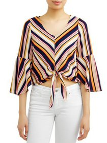 Juniors' Striped Bell Sleeve Tie Front Peasant Blo