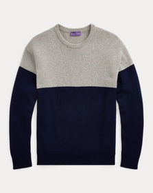 Ralph Lauren Color-Blocked Cashmere Sweater
