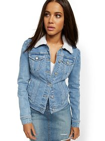 Sherpa-Lined Denim Jacket - Lavish Blue - New York