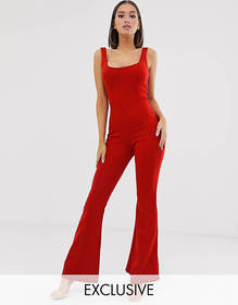 Missguided flare jumpsuit in red