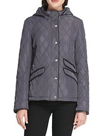 DKNY Quilted Hooded Slim-Fit Coat BLACK