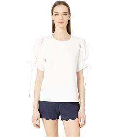 See by Chloe Short Sleeve with Tie Cuff Crepe Top