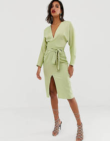 ASOS DESIGN midi dress with batwing sleeve and wra