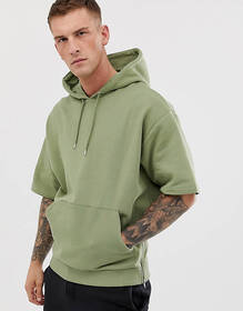 ASOS DESIGN short sleeve oversized hoodie with sid