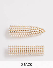 ASOS DESIGN pack of 2 snap shape hair clips in sol