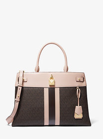 Michael Kors Gramercy Large Striped Leather and Lo