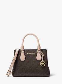 Michael Kors Camille Small Logo and Leather Satche