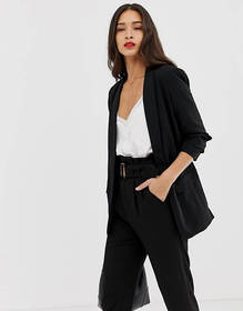 Stradivarius ruched sleeved blazer in black