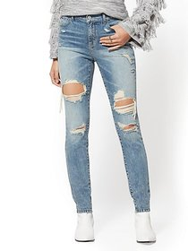 High-Waisted Super-Skinny Jeans - Wave Blue - New