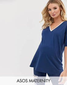 ASOS DESIGN Maternity tipped v neck t-shirt in blu