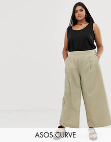 ASOS DESIGN Curve easy wide leg canvas pants with
