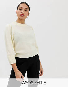 ASOS DESIGN Petite sweater with puff sleeve