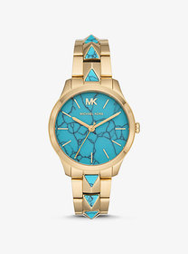 Michael Kors Runway Mercer Gold-Tone and Turquoise