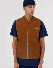 ASOS DESIGN canvas vest in tobacco
