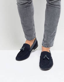 Silver Street Tassel Loafers In Navy Suede